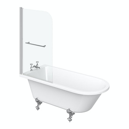 Dulwich Freestanding Shower Bath and Bath Screen with Rail