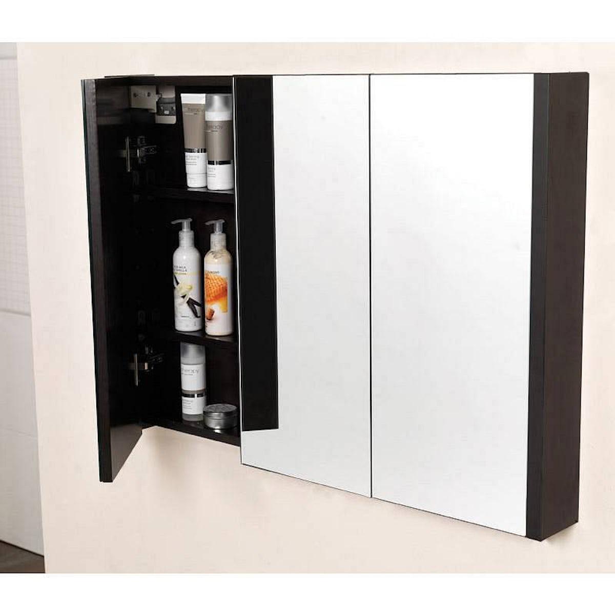 Odessa Wenge 3 Door Bathroom Mirror Cabinet | VictoriaPlum.com