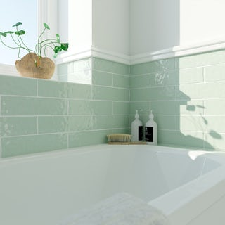 Laura Ashley Artisan eau de nil green wall tile 75mm x 300mm