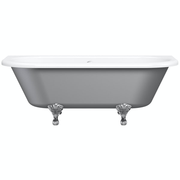 The Bath Co. Dulwich grey back to wall roll top bath with chrome ball and claw feet 1700 x 750