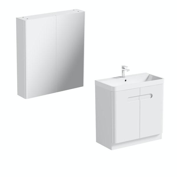 Mode Ellis white vanity door unit 800mm and mirror cabinet offer