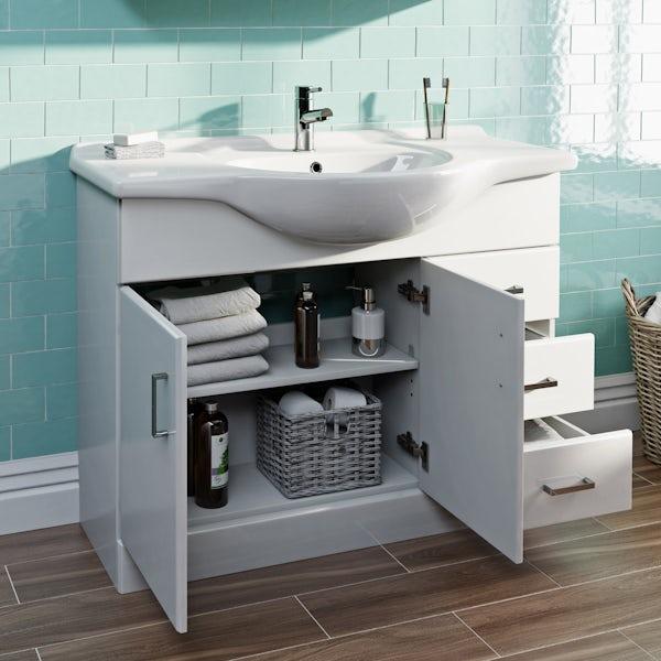 Eden white vanity unit and basin 1050mm