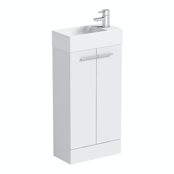 Clarity Compact white cloakroom suite with contemporary close coupled toilet