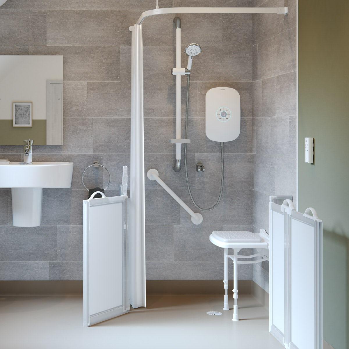 AKW L shaped shower curtain rail 1800 x 820