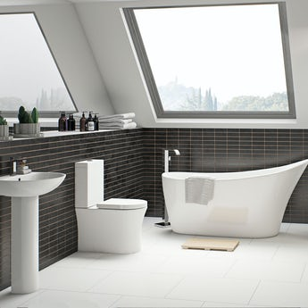 Mode Hardy bathroom suite with freestanding bath and taps 1600 x 750