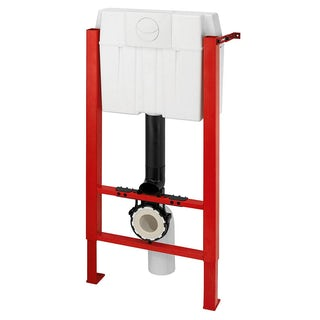 Macdee WIrquin universal wall hung frame inc. white push button cistern