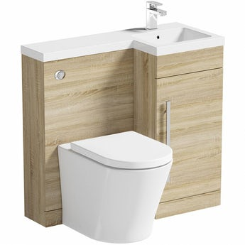 MySpace oak right handed unit with Arte back to wall toilet