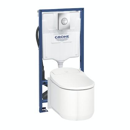 Grohe Sensia Arena smart toilet with soft close seat, rapid SL frame and Nova flush plate
