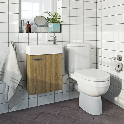 Orchard Compact oak complete cloakroom suite with contemporary close coupled toilet with tap and waste