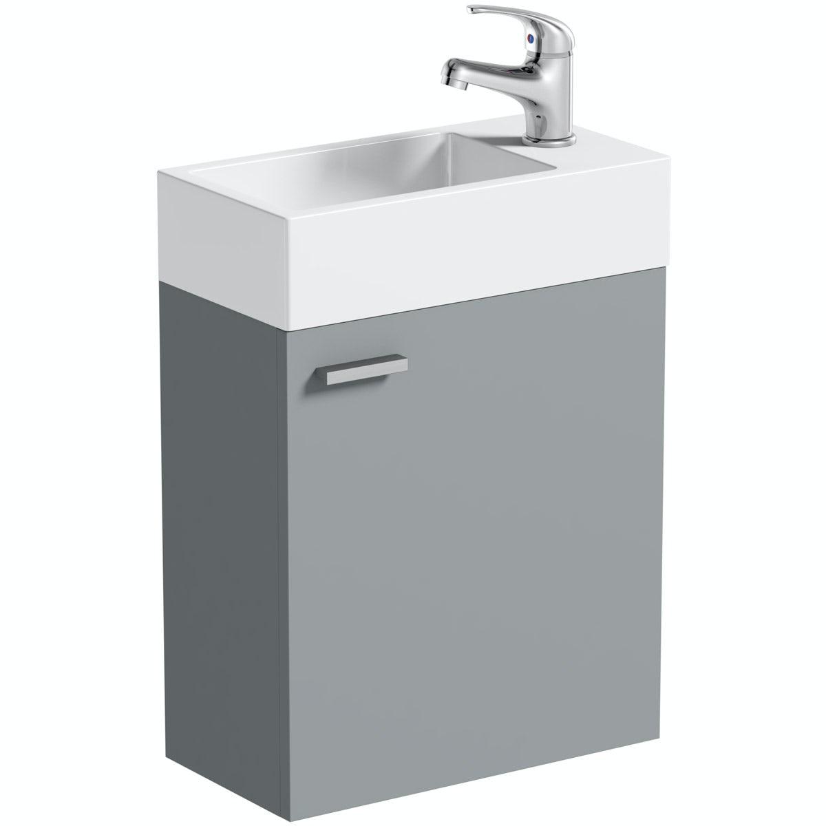 Clarity Compact satin grey wall hung vanity unit and basin 410mm
