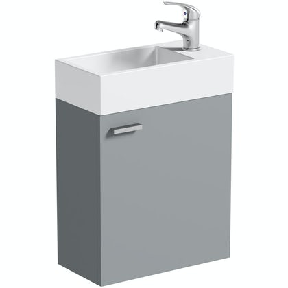 Clarity Compact satin grey wall hung vanity unit and basin 410mm