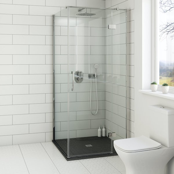 Mode Cooper premium 8mm easy clean square shower enclosure with black slate effect tray 900 x 900