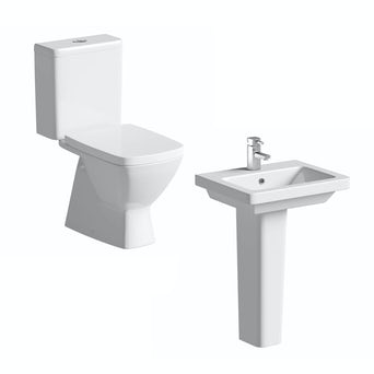 Verso Close Coupled Toilet and Full Pedestal Basin Suite