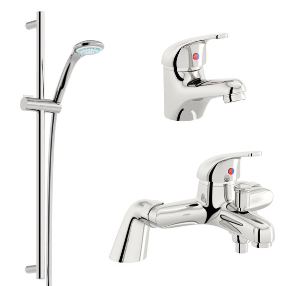 Clarity single lever bath shower mixer tap, slider rail and basin mixer pack - Sold by Victoria Plum