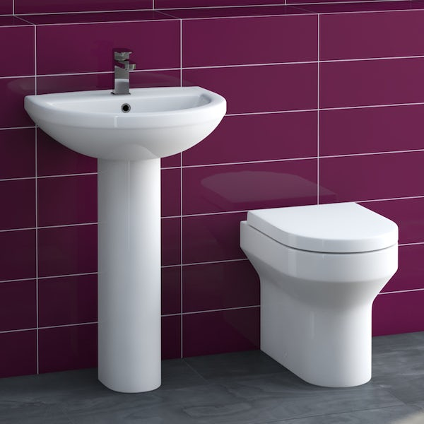 Oakley back to wall toilet suite with full pedestal basin 500mm