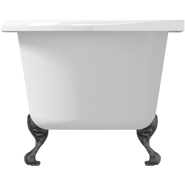 The Bath Co. Dulwich back to wall roll top bath with black ball and claw feet 1700 x 750