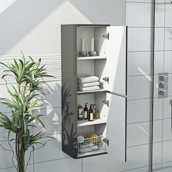 Carter pebble grey tall wall cabinet