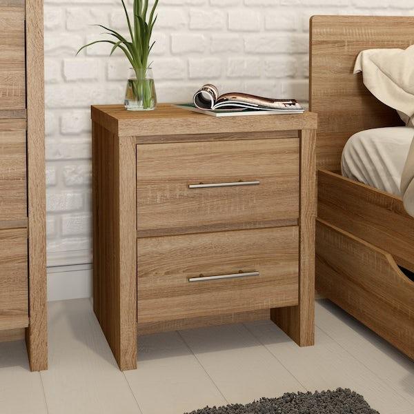London Oak 2 Drawer Bedside