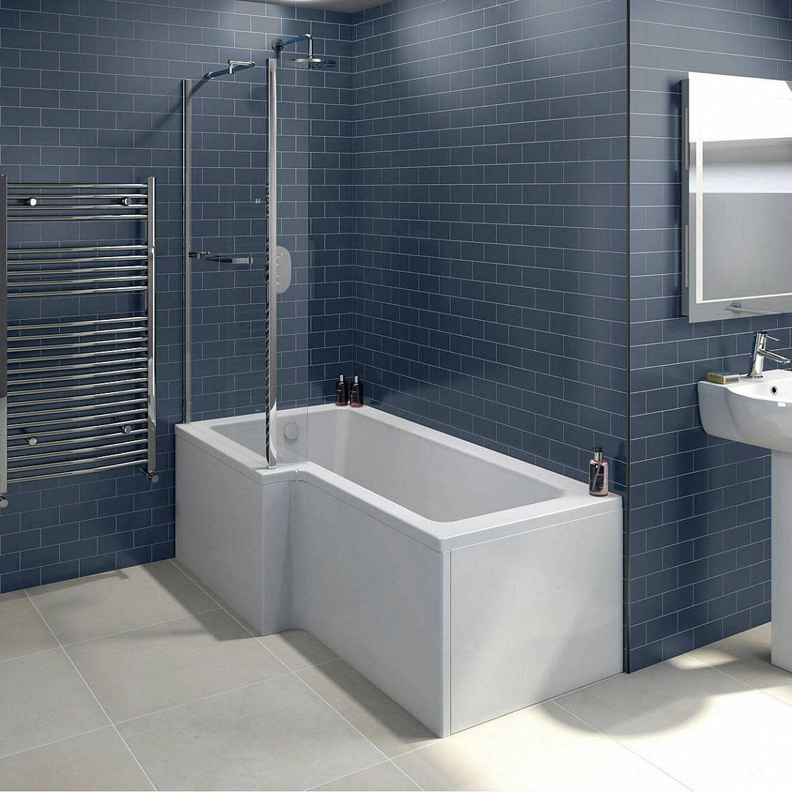 Boston Shower Bath 1700 x 850 LH inc. Screen & Towel Rail