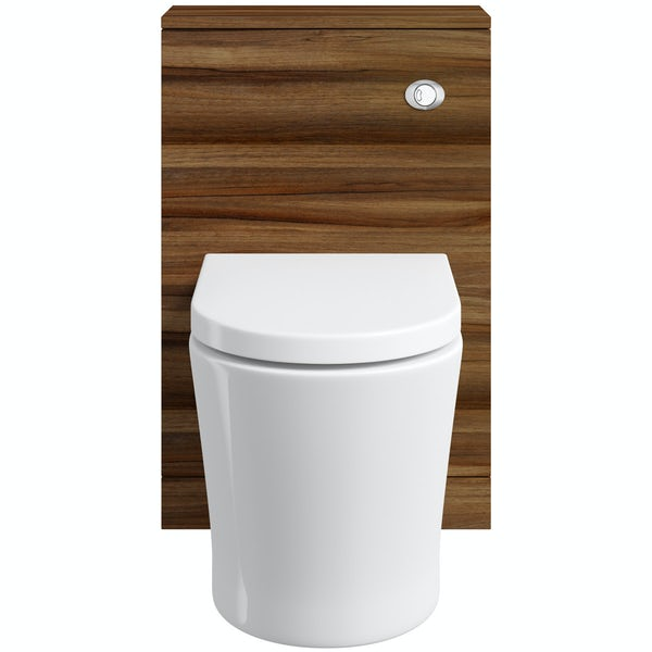 Clarity walnut back to wall toilet unit