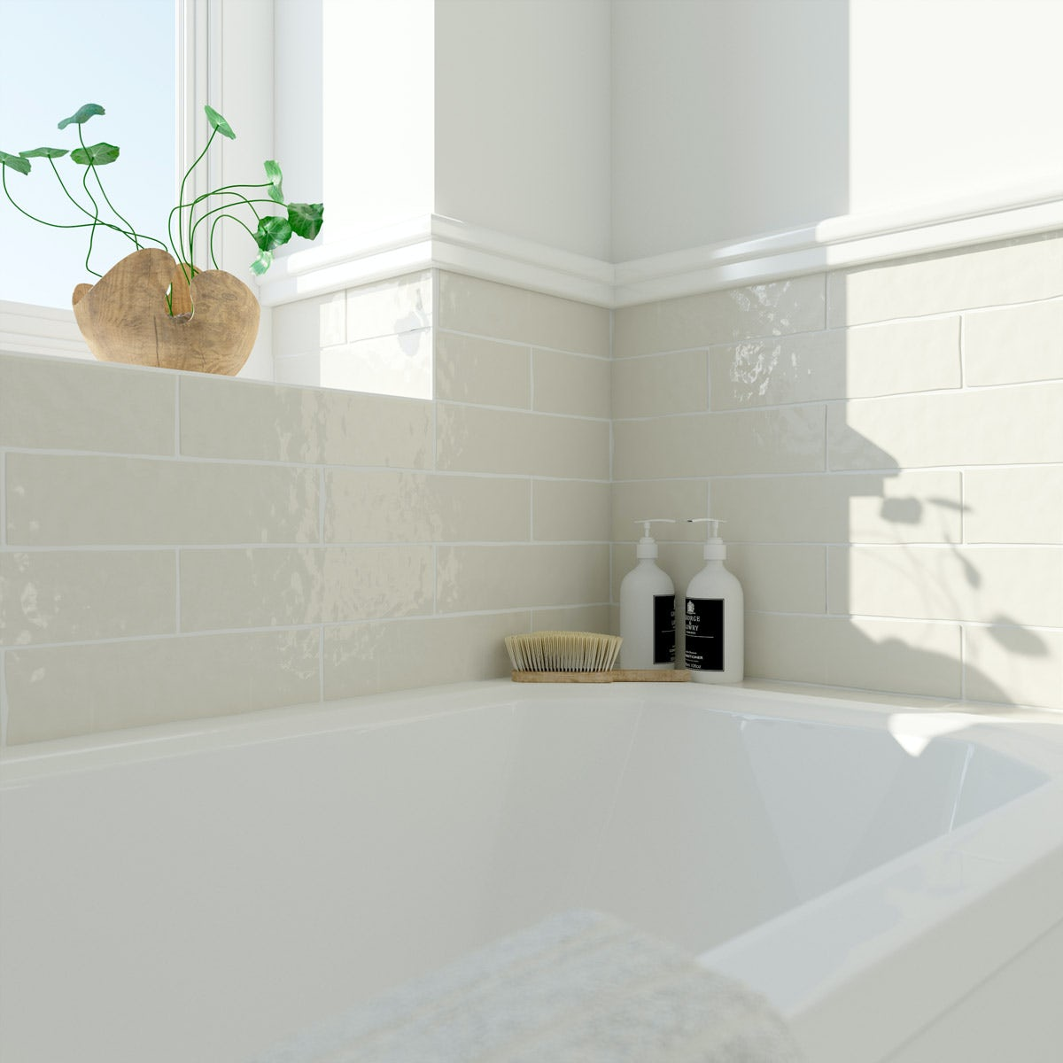 Laura Ashley Artisan creamware wall tile 75mm x 300mm