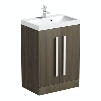 Arden walnut vanity unit 600mm with basin