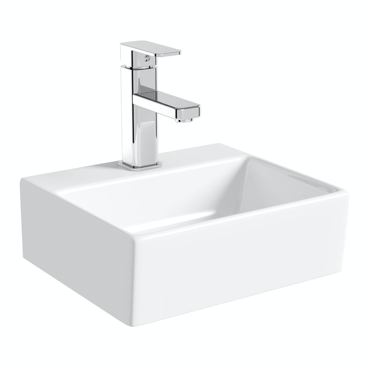 Orchard Derwent square 1 tap hole countertop basin 330mm with waste