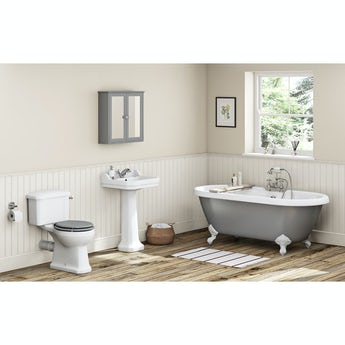 The Bath Co. Camberley grey bathroom suite with freestanding bath