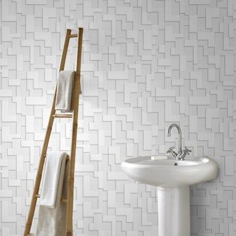Graham & Brown Checker white wallpaper