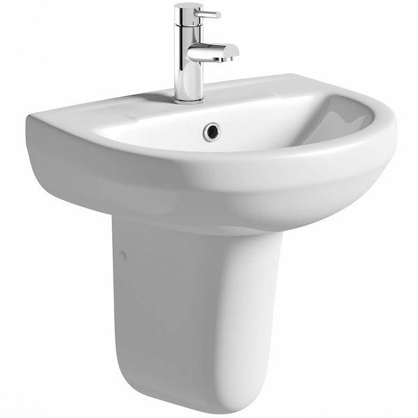 Eden 1 tap hole semi pedestal basin 550mm with waste