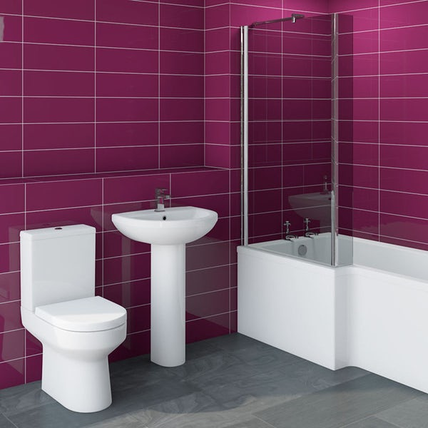 Oakley Bathroom Suite with left handed Boston L shaped shower bath 1700 x 850