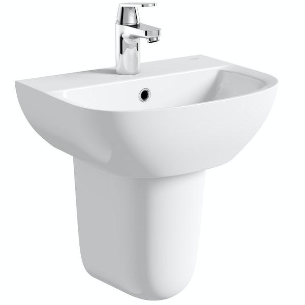 Grohe Bau 1 tap hole semi pedestal basin 450mm