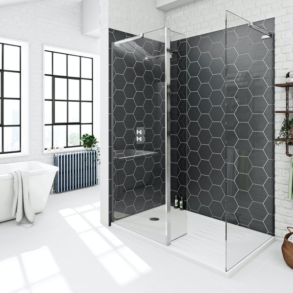 SmarTap black smart shower system with Mode 8mm walk in enclosure pack
