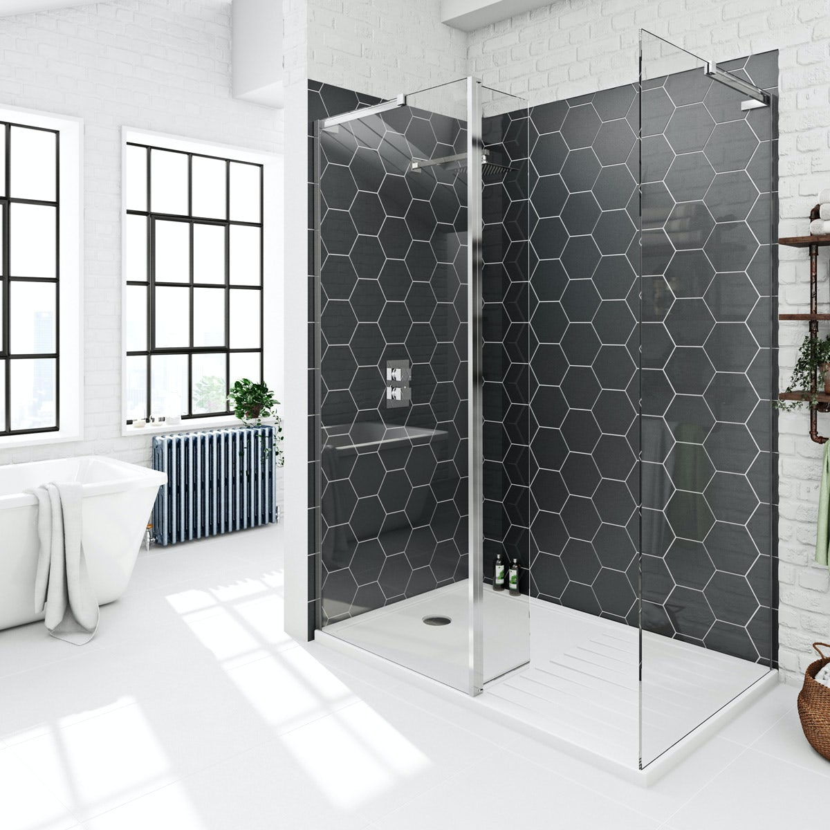 Mode 8mm walk in shower enclosure with tray and hinged return panel 1400 x 900