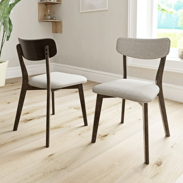 Ernest walnut and beige pair of dining chairs