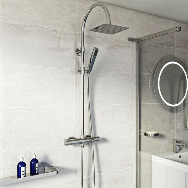 Mode Cool Touch round thermostatic exposed mixer shower with square shower head