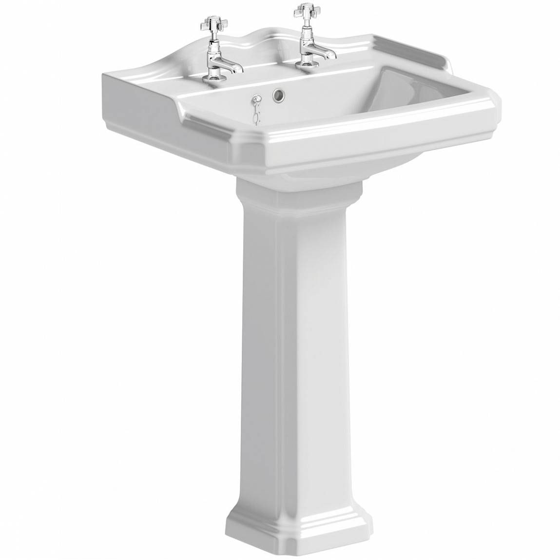 The Bath Co. Winchester 2 tap hole full pedestal basin 600mm with waste