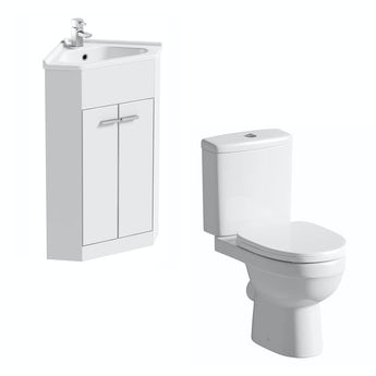 Clarity Compact corner white cloakroom suite with contemporary close coupled toilet