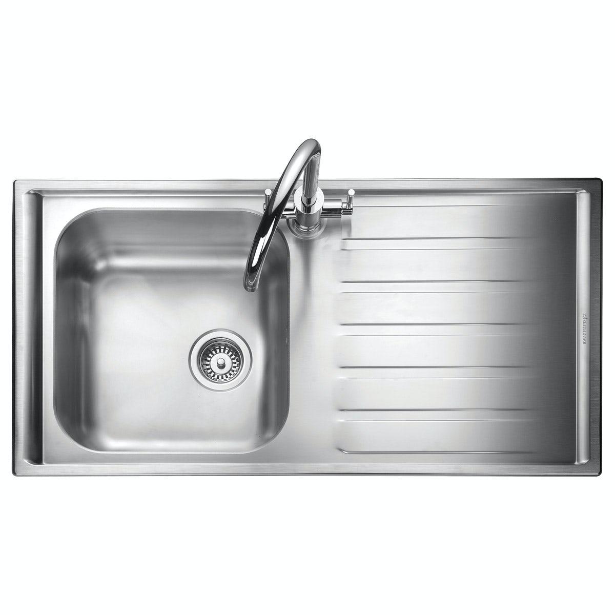 Rangemaster Manhattan 1.0 bowl right handed kitchen sink with waste kit