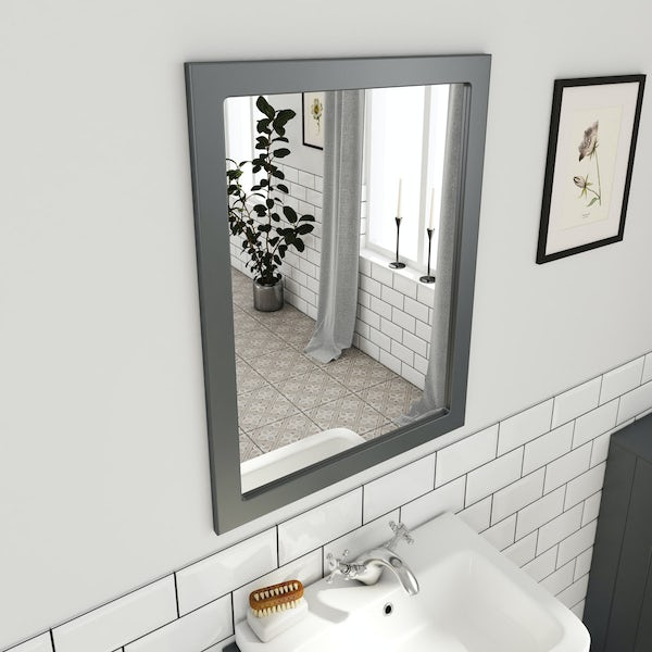 The Bath Co. Dulwich grey cloakroom vanity unit and mirror 600mmThe Bath Co. Dulwich stone grey cloakroom vanity unit and mirror 600mm
