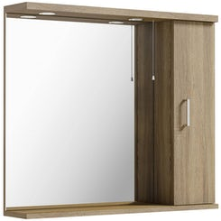 Sienna oak bathroom mirror with lights 850mm offer pack