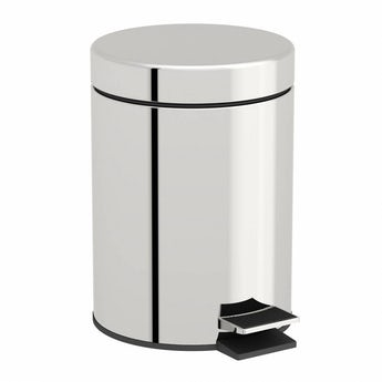 Options round stainless steel bathroom bin 3 litre