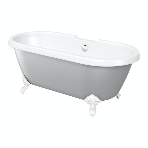 Angled shot of grey painted roll top bath