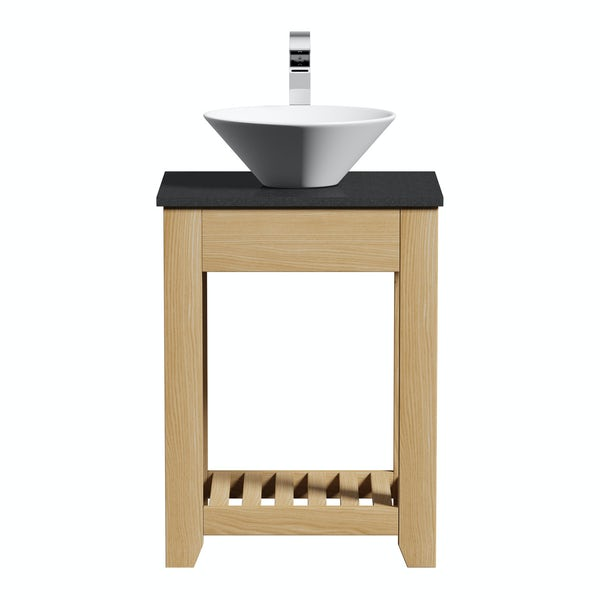 The Bath Co. Hoxton oak washstand with black marble top and Erie basin 600mm