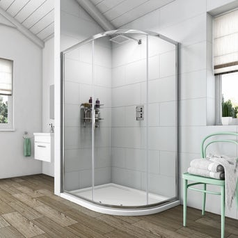 Simplicity 6mm One Door Offset Quadrant 900 x 760 with Shower Tray RH