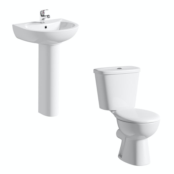 Clarity close coupled toilet suite with full pedestal basin 540mm