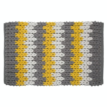 Croydex grey, white & yellow patterned bath mat