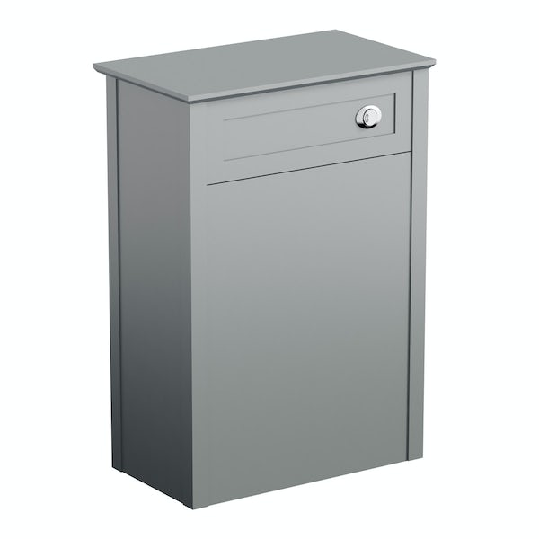 The Bath Co. Camberley satin grey back to wall toilet unit and traditional toilet with white wooden seat