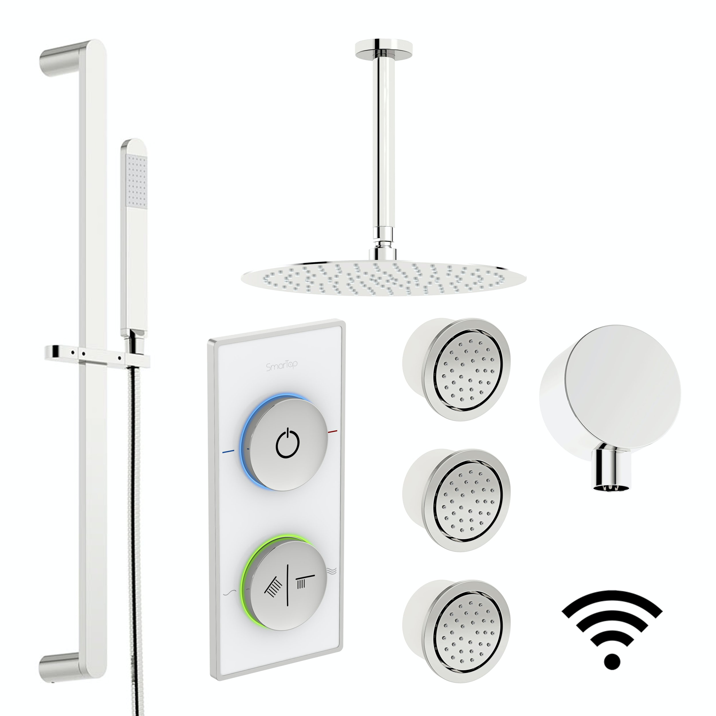 SmarTap white smart shower system with complete round ceiling shower set