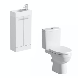 Compact white floor standing unit with Eden close coupled toilet